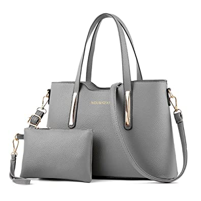 7c82ead406fa LIZHIGU Womens Leather Shoulder Bag 2 Pieces Top-handle Handbags Tote Purse  Bags Set Gray