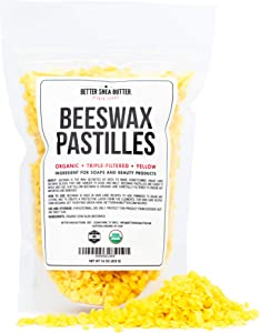 Better Shea Butter Organic Beeswax Pastilles - Yellow, Filtered Pellets Easy to Measure - Use to Make Candles, Lotions, Salves, Balms and Other Recipes - 16 oz