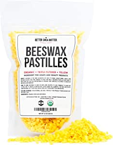 Organic Beeswax Pastilles - Yellow, Filtered Pellets Easy to Measure - Use to Make Candles, Lotions, Salves, Balms and other Recipes - 16 oz by Better Shea Butter