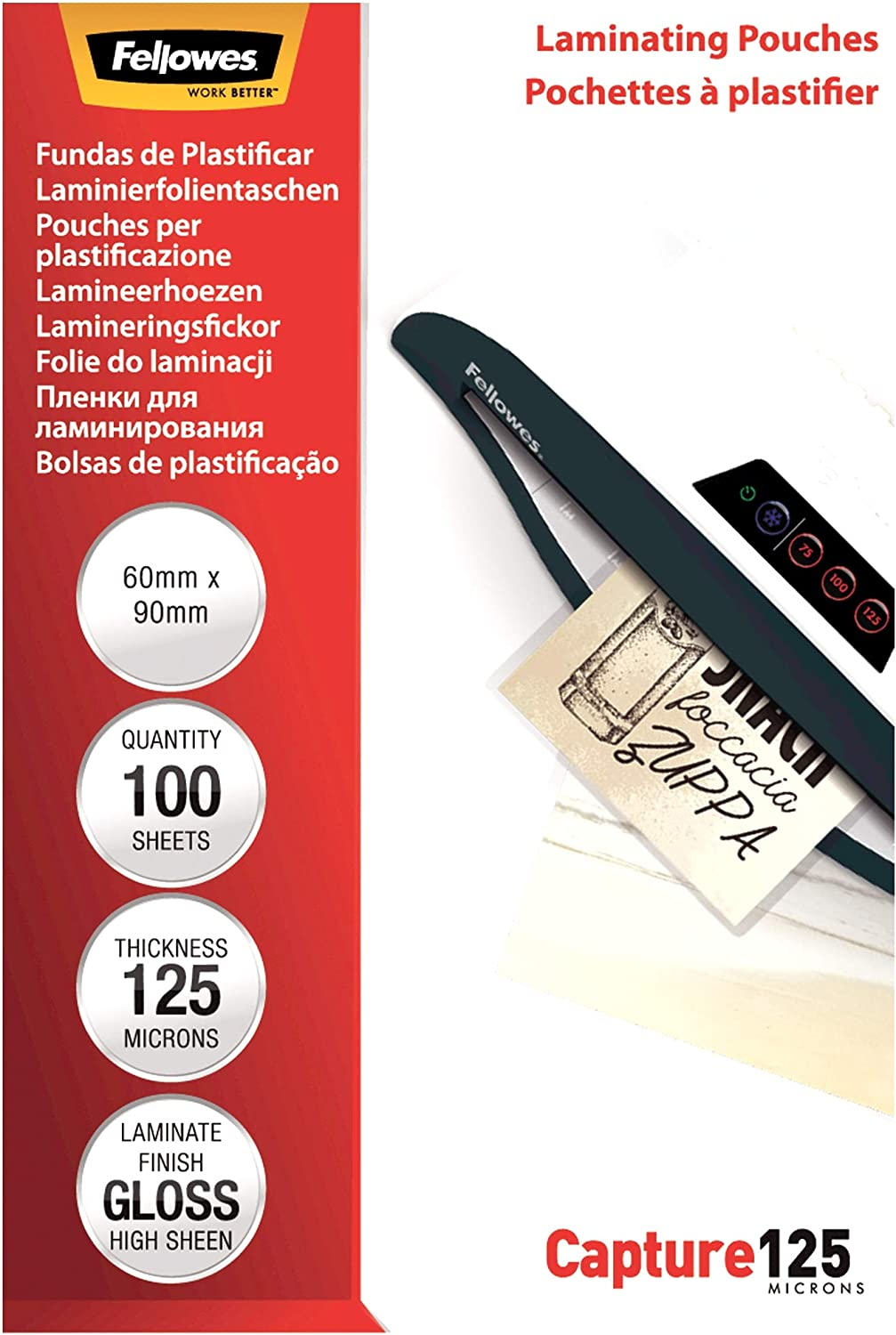 Fellowes Capture 60 x 90mm 125 Micron Glossy Laminating Pouches 100 Sheets Pack
