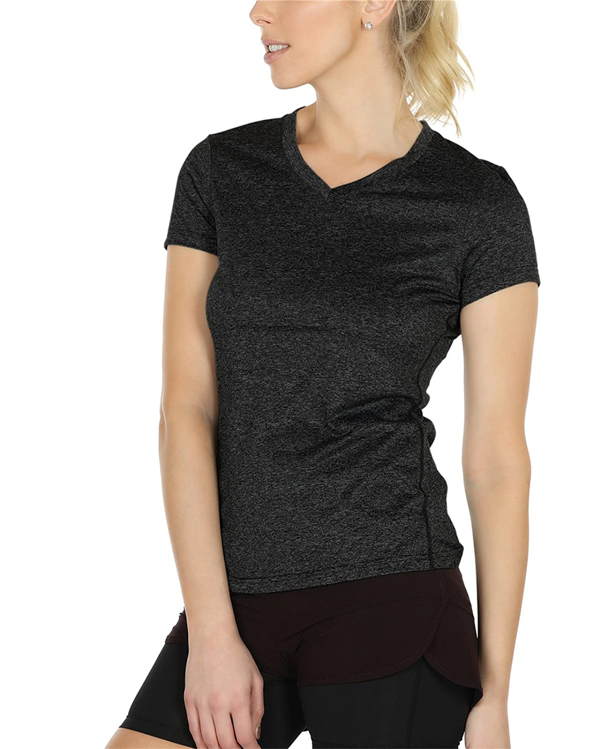 icyzone Workout Shirts Yoga Tops Activewear V-Neck T-Shirts for Women Running Fitness Sports Short Sleeve Tees Pack of 3