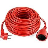 SIMBR Cable alargador de corriente IP20 H05VV Alargador cable de gran calidad 10m 15m 20m 30m Color rojo (20m)