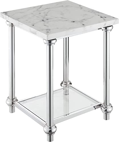 Convenience Concepts Roman II End Table, Faux White Marble Chrome