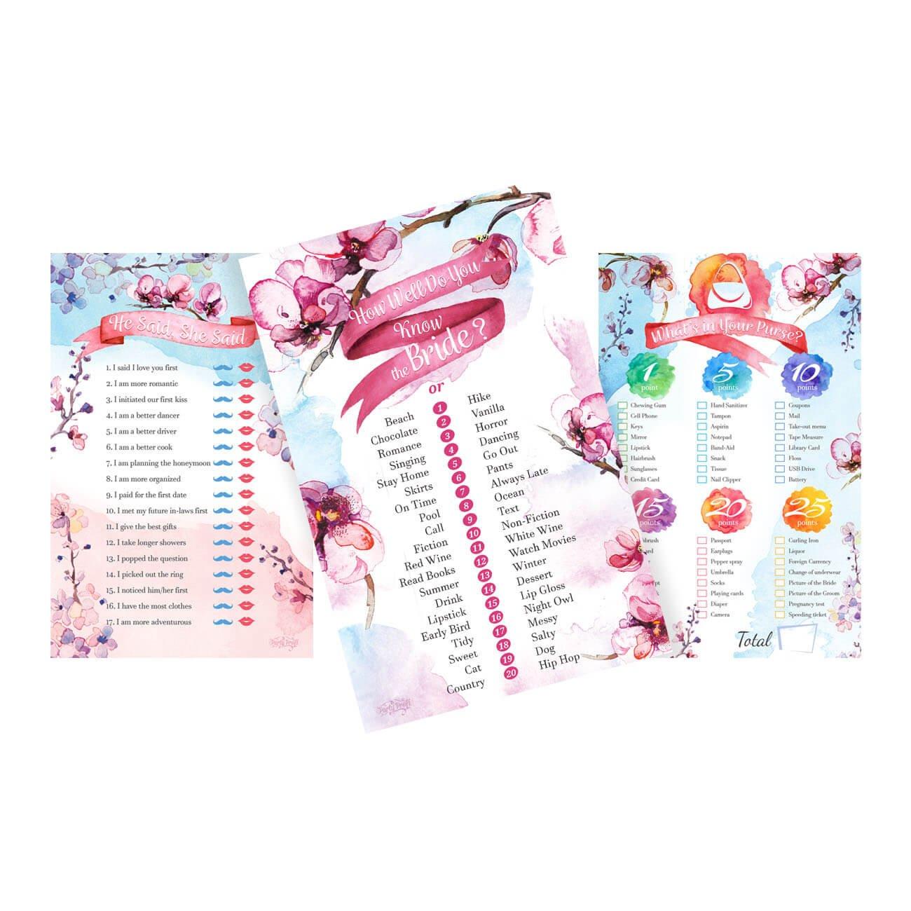 Amazon.com: Bridal Shower Games Floral Bachelorette Party Bundle ...