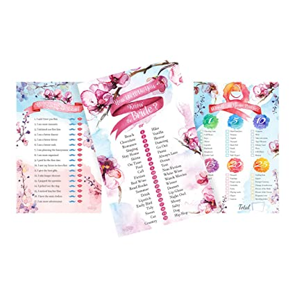 bridal shower games floral bachelorette party bundle set of 3 he said she said