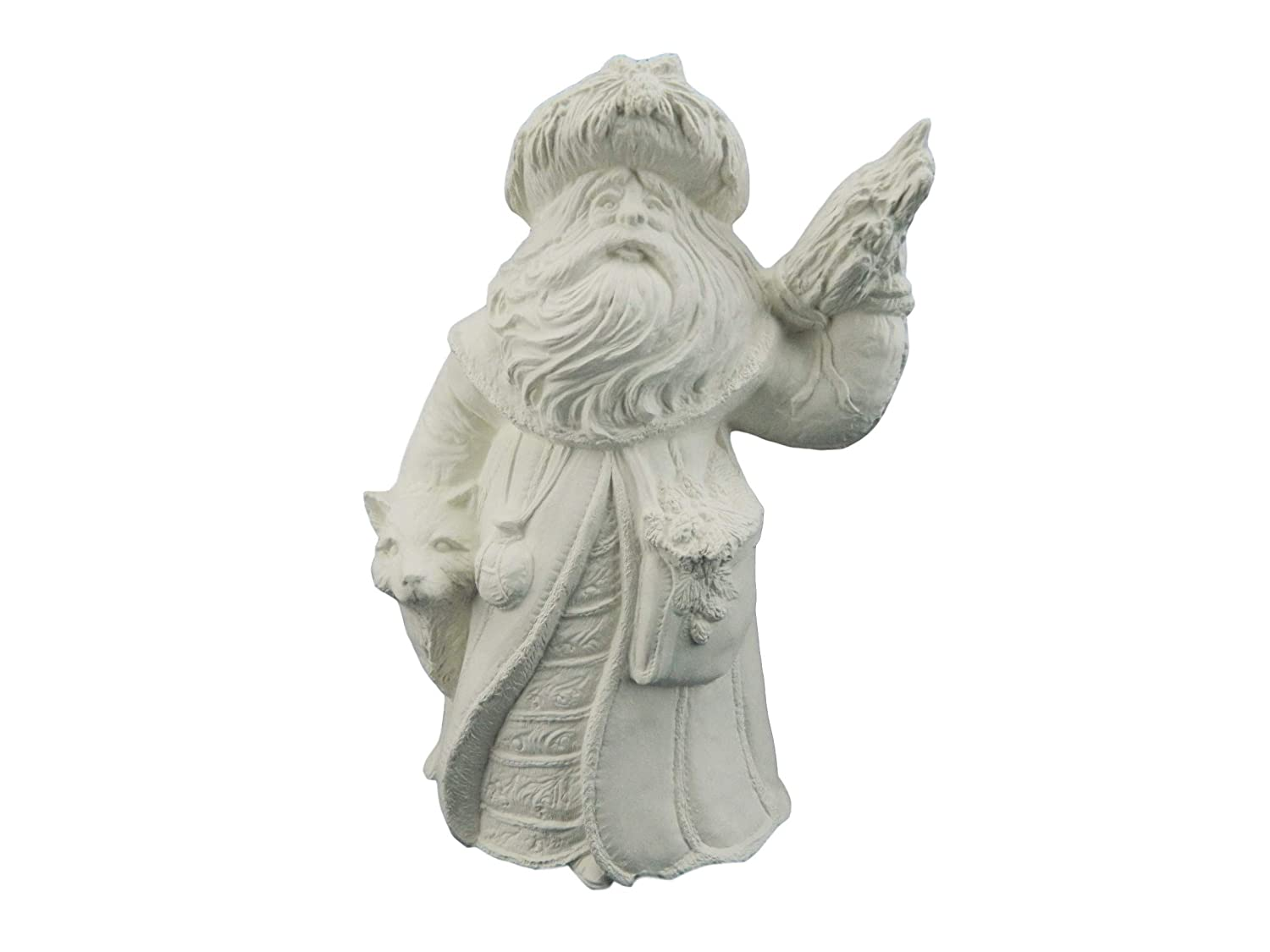 Ready to Paint Ceramic Bisque 10 Inches Mountain Old World Santa with Wolf