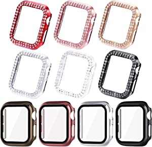 NewWays Bling Cases Compatible for Apple Watch 38mm 40mm 42mm 44mm, Protective Bumper for iWatch SE Series 6 5 4 3 2 1 (44mm, 10 Cases in Total)