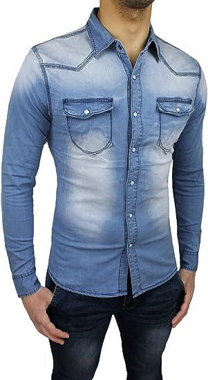 Camisa vaquera de hombre, casual, ajustada, de algodón, denim, con botones de bisutería: Amazon.es: Ropa y accesorios
