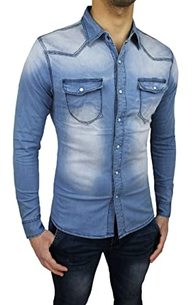on sale 7bb7c dd736 Camicia Jeans Uomo Slim Fit Aderente Casual in Cotone Denim ...
