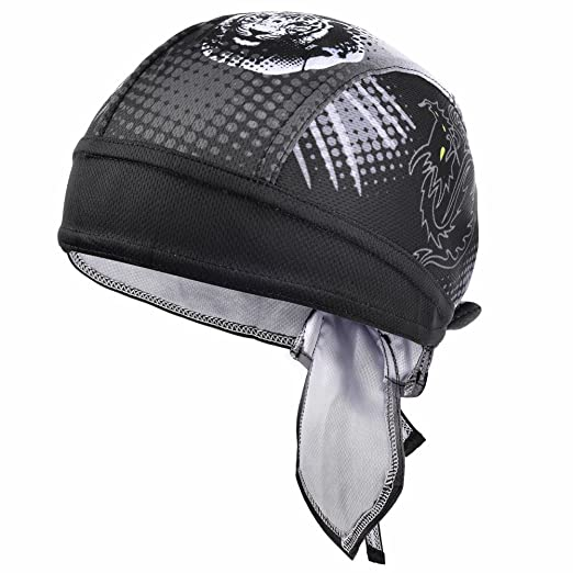 e1b0de46e4ed5 Vbiger Sweat Wicking Beanie Skull Cap Quick Dry Adjustable Cycling Hat Wrap  Doo Rag for Men