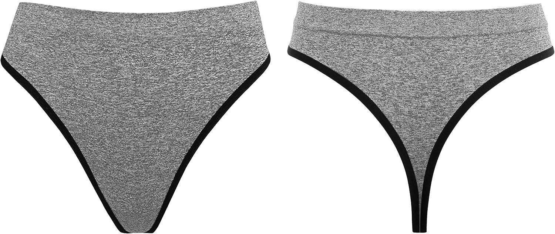 PER LEI Women/'s 6 Pack Plus Size Seamless High Cut Thong