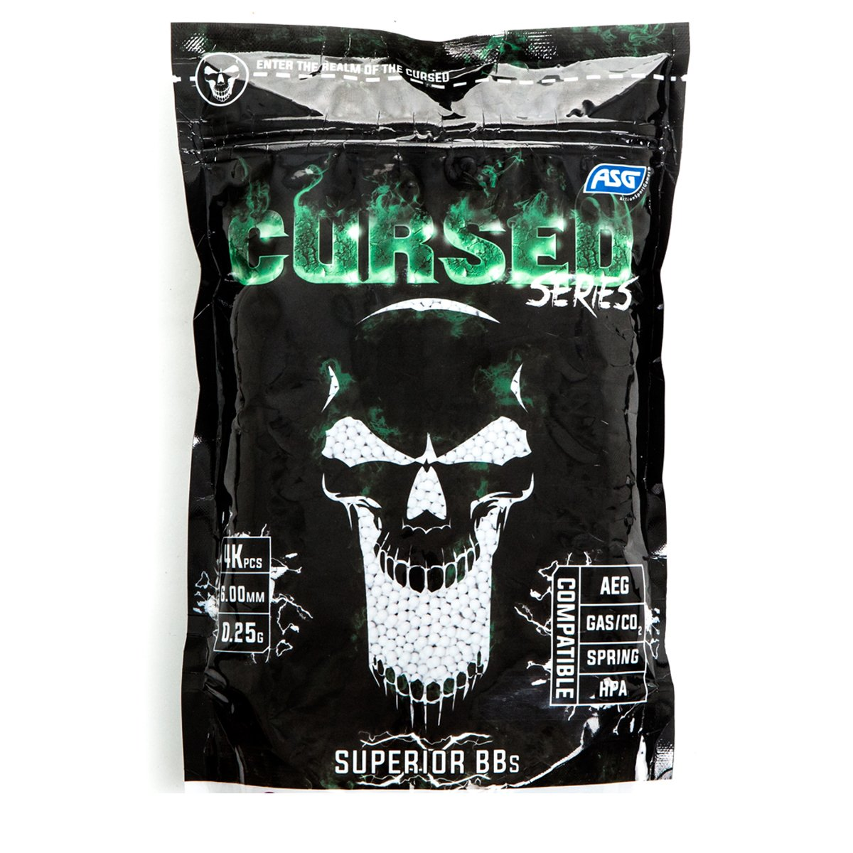 SACHET DE 4000 BILLES CURSED SERIES ASG DE 0.25 G 6 MM BLANCHES 18232 AIRSOFT