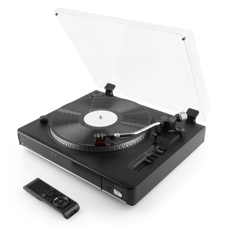 auna TT-992 USB tocadiscos (USB, SD, MP3, 33/45 g/min, función pitch, luz estroboscópica, fonocaptor, mando a distancia, salida AUX, pantalla LCD) - ...