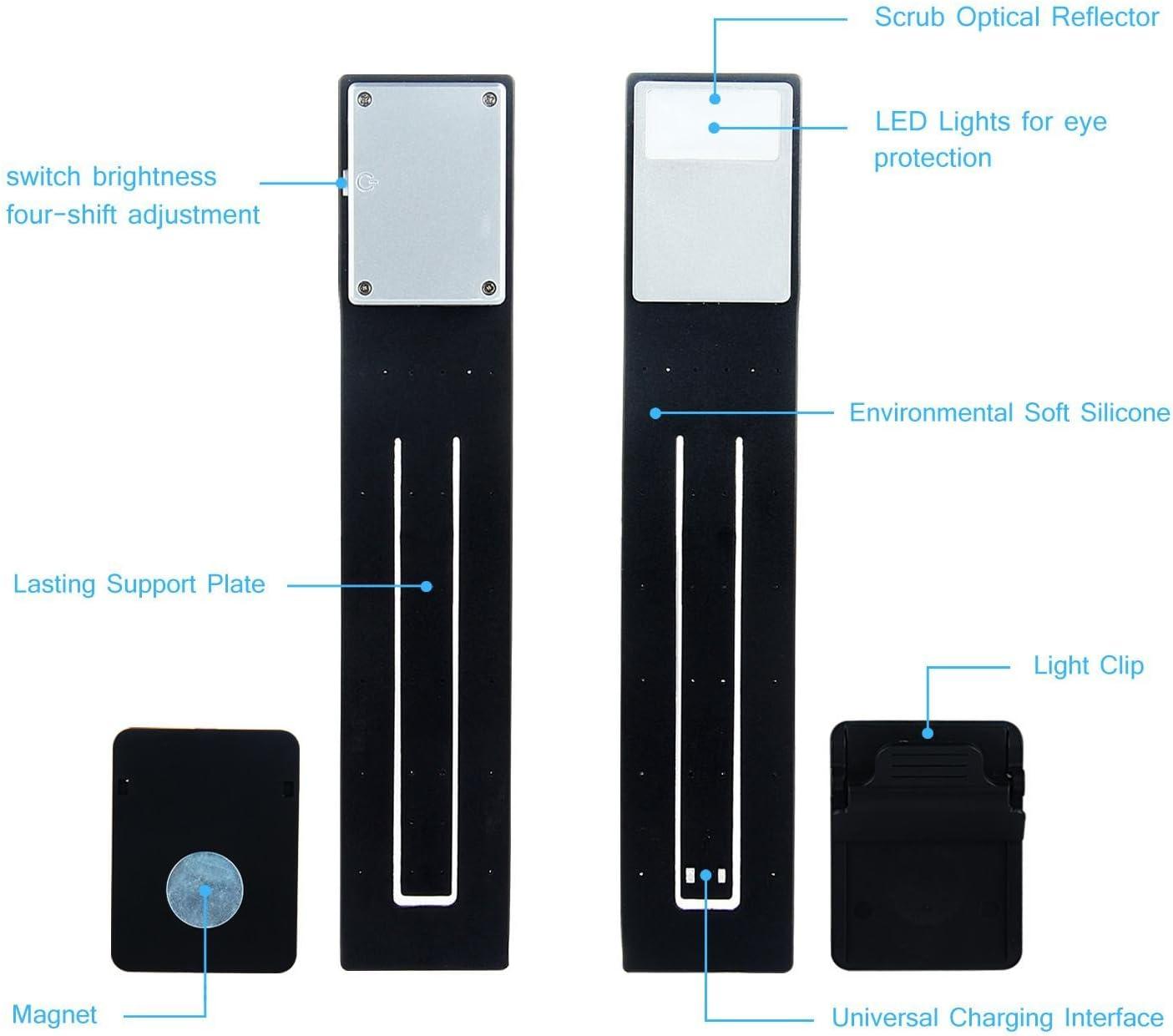 AOLVO libro luz, USB recargable LED lámpara de lectura doble como ...