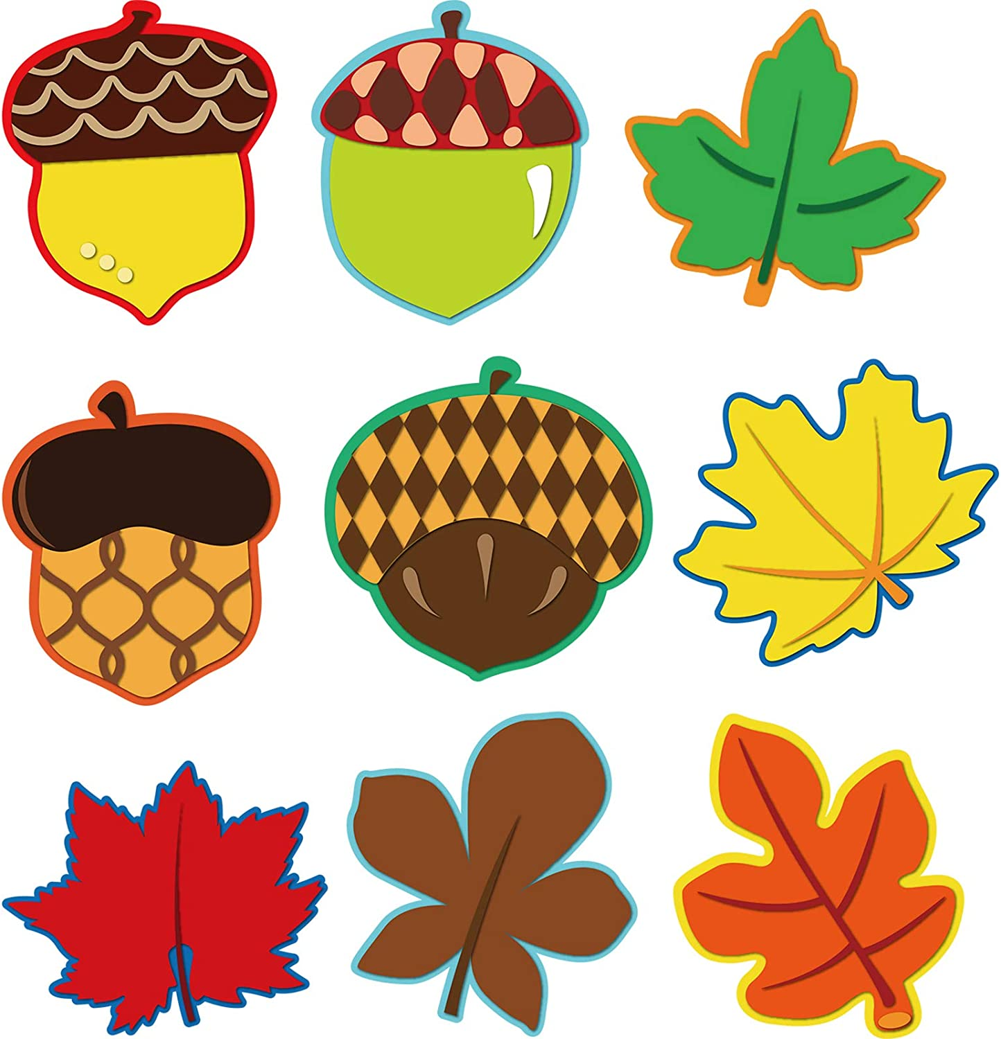 Amazon Com 45 Pieces Colorful Maple Leaves And Acorns Cut Outs Versatile Classroom Decoration With Glue Point Dots For Thanksgiving Bulletin Board Classroom School Fall Theme Party 5 9 X 5 9 Inch Office Products