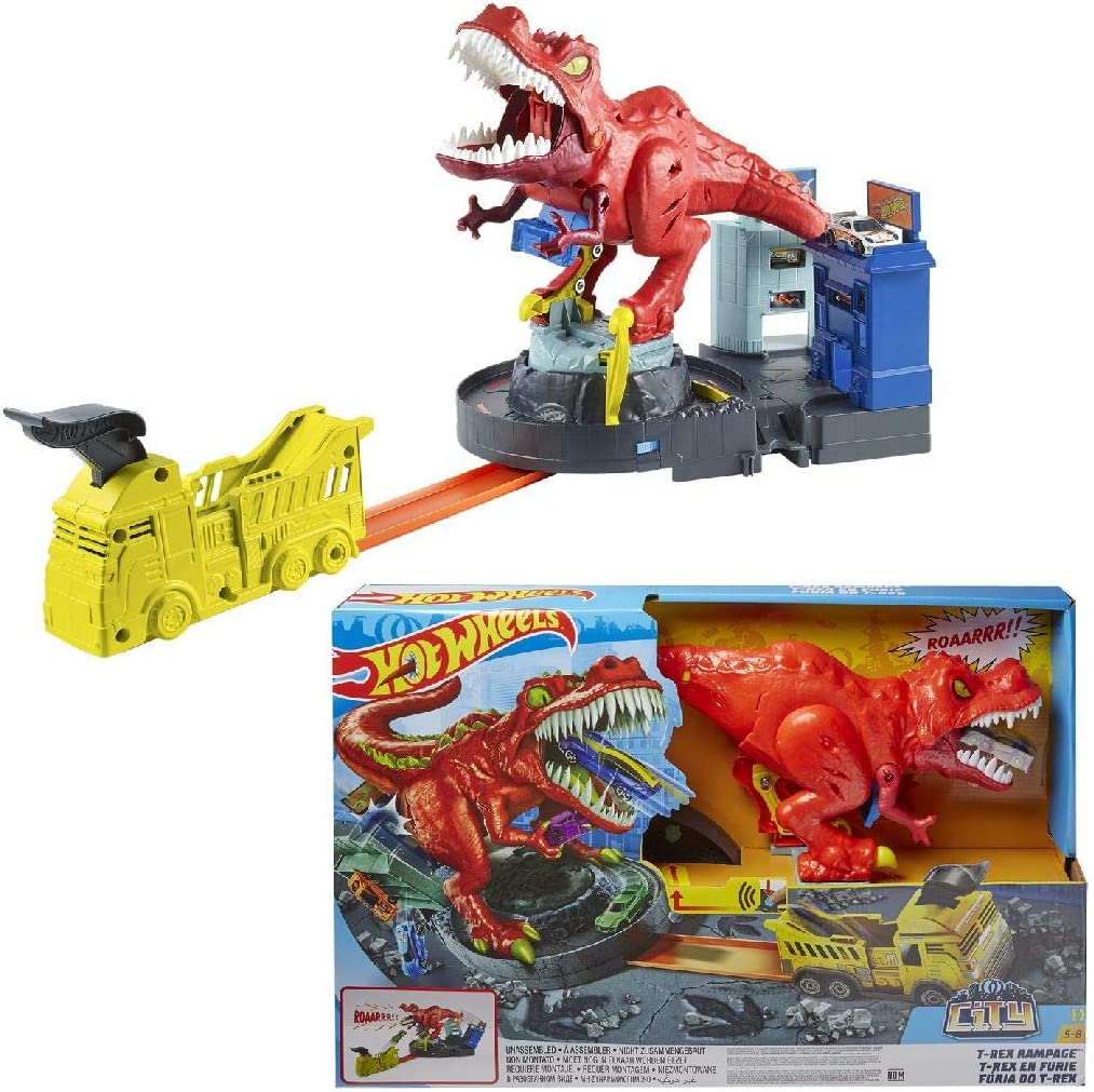 Amazon Com Hot Wheels T Rex Rampage Play Set Toys Games