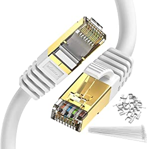 Ethernet Cable 100 ft Cat 8 White, Zosion Cat 8 Cable High Speed 2000MHZ 40GBPS Internet Patch Cable Cord Shielded Durable Gold Plated RJ45 Connector for Gaming PC TV PS4 Modem Router Mac Laptop Xbox