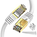 Cat 8 كابل إيثرنت بطول 10 أقدام ، حزمة من 2 كابل توصيل RJ45 دائري الإنترنت 2000Mhz 40 جيجا بايت سلك LAN عالي السرعة محمي…