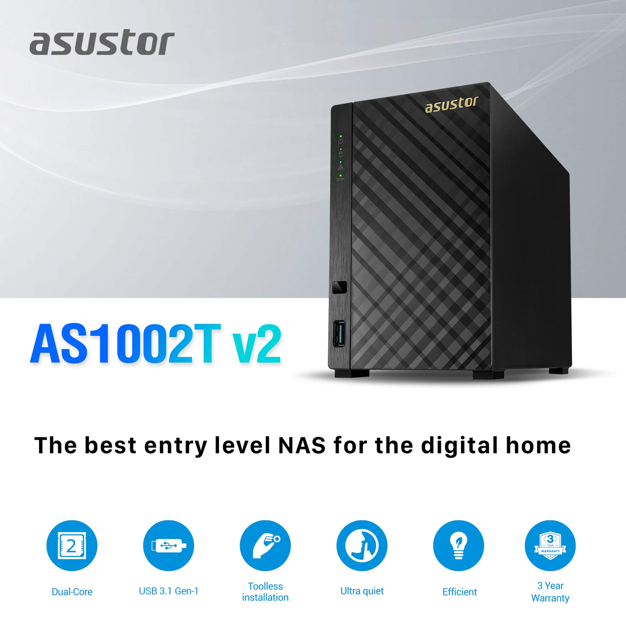 Asustor AS1002T v2   Network Attached Storage + Free exFAT License   1.6GHz Dual-Core, 512MB RAM   Personal Private Cloud   Home Media Server (2 Bay Diskless NAS) by Asustor (Image #2)