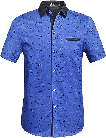 SSLR Camisa Manga Corta Estampada de Algodón Casual para Verano de Hombre: Amazon.es: Ropa y accesorios
