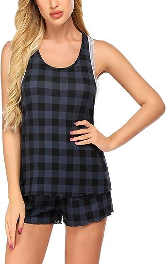 Balancora - Pijama de mujer de algodón, camisón de noche, manga corta, escote en V para verano