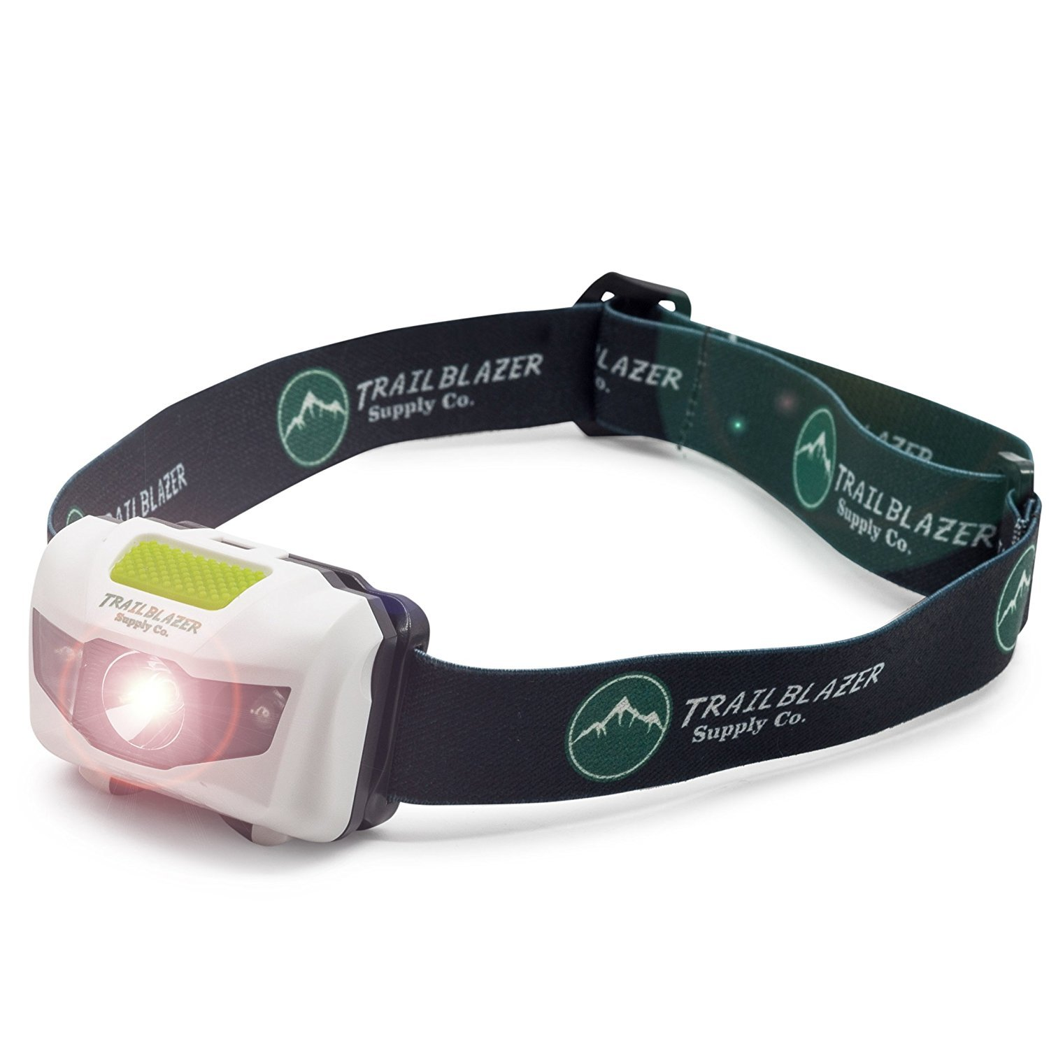 LED Headlamp - For Running, Camping, Reading, Fishing, Hunting, Dog Walking, Hiking, Biking Trails, and Kids - Bright 300 Lumens, Lightweight, Waterproof, Red and Strobe Flashlight, w/ AAA Batteries by Trailblazer Supply Co (Image #1)