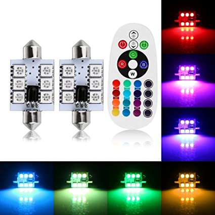 1-Set 211-2 212-2 569 578 RGB Multicolored Non-Polarity Canbus Error Free Car Dome Led Festoon Bulbs 12V,Colorful Atmosphere Lamp Interior Bulbs Reading Map Light 1.61 AMAZENAR 2-Pack 41MM