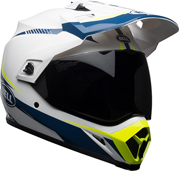 Amazon.com: Bell MX-9 Adventure MIPS Off-Road Motorcycle Helmet (Gloss White/Blue/Yellow Torch, X-Large): Automotive