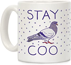 LookHUMAN Stay Coo Pigeon White 11 Ounce Ceramic Coffee Mug