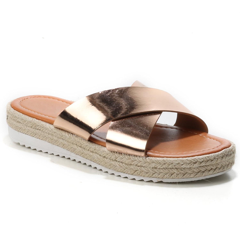HERIXO Damen Schuhe Sandalen Slippers Pantoletten Espadrilles 40 Überkreuzt Metallic Bast  40 Espadrilles EU|Champagne fd8098