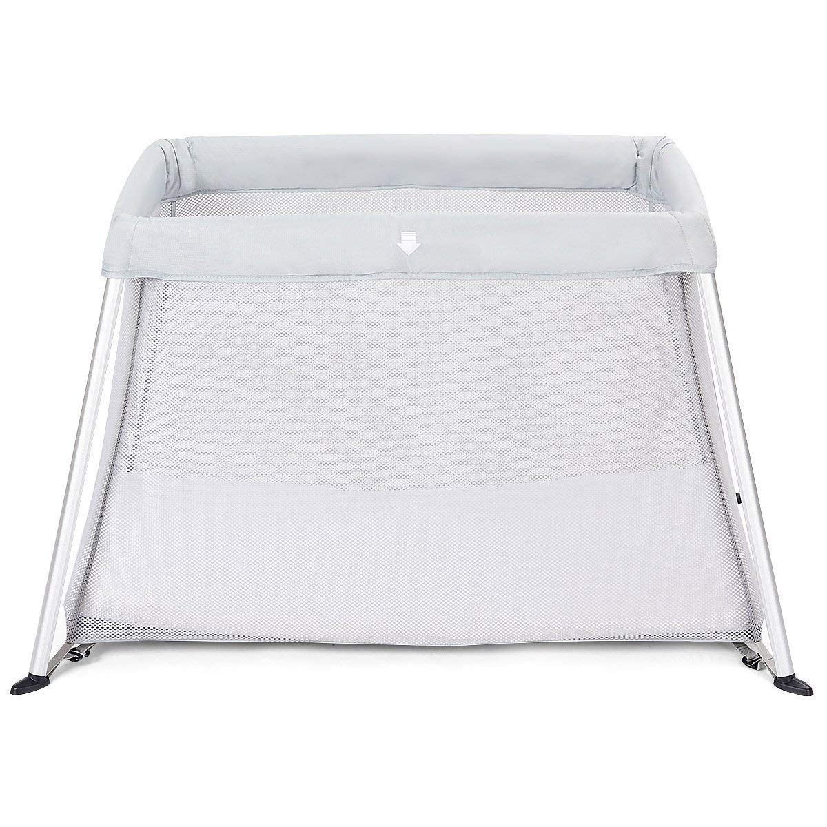Costzon Baby Playpen, Ultra-Light Aluminum Portable Travel Crib with Comfy Mattress & Oxford Carry Bag, Gray