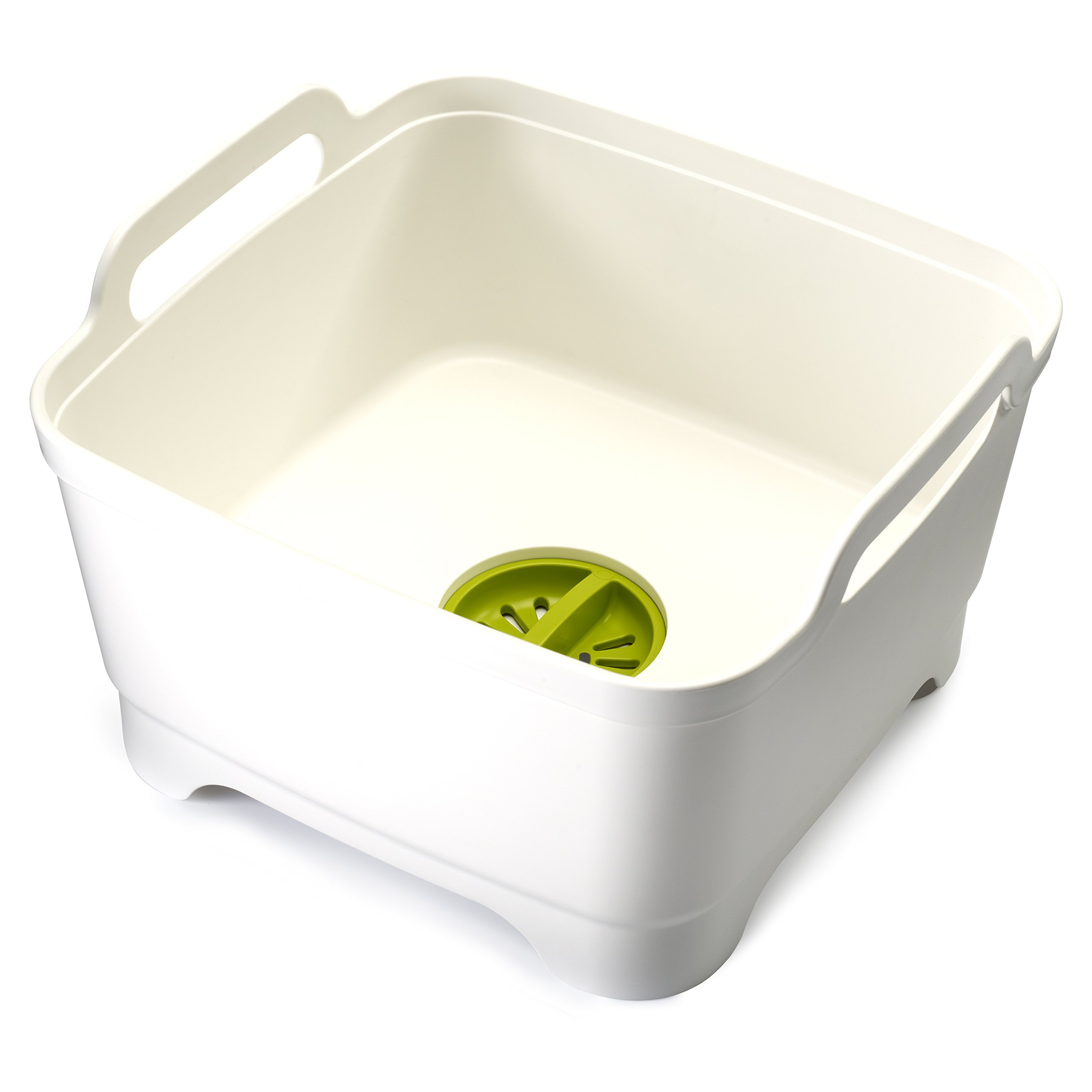 Joseph Joseph 85055 Wash & Drain Wash Basin Dishpan with Draining Plug Carry Handles 12.4-in x 12.2-in x 7.5-in, White by Joseph Joseph