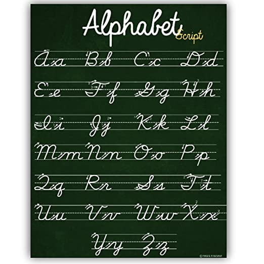 Amazon.com: ABC - Póster de alfabeto cursivo con líneas ...
