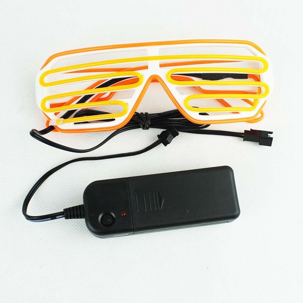 EL Glasses El Wire LED Light Up Shutter Funny Amazing Cool Glasses Eyeglasses Eyewear for Christmas Halloween Wild Party,Dance Ball,Crazy Parties (Yellow+Orange)