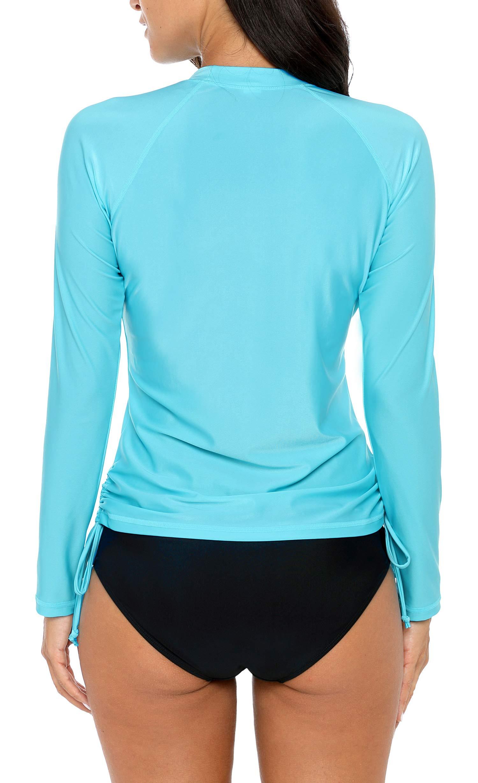 ALove Womens Drawstring Rash Guard Shirt UV Protection Swim Shirts Aqua M by ALove (Image #3)