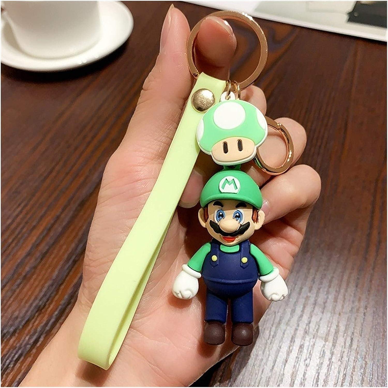 XINGYAO Llavero Encantos Mario Bros Llavero de la Historieta 3D Mario Llavero del Coche de Moda Mario Luigi Bolsa Pendiente Suave de Goma Clave de PVC Cadenas Home (Color : Luigi)