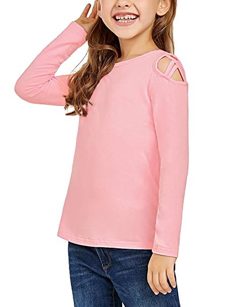 bfb903230abc0 Amazon.com  Lookbook Store Girls Long Sleeve Shirt Crisscross Cold Shoulder  Tee Tops T-Shirt  Clothing