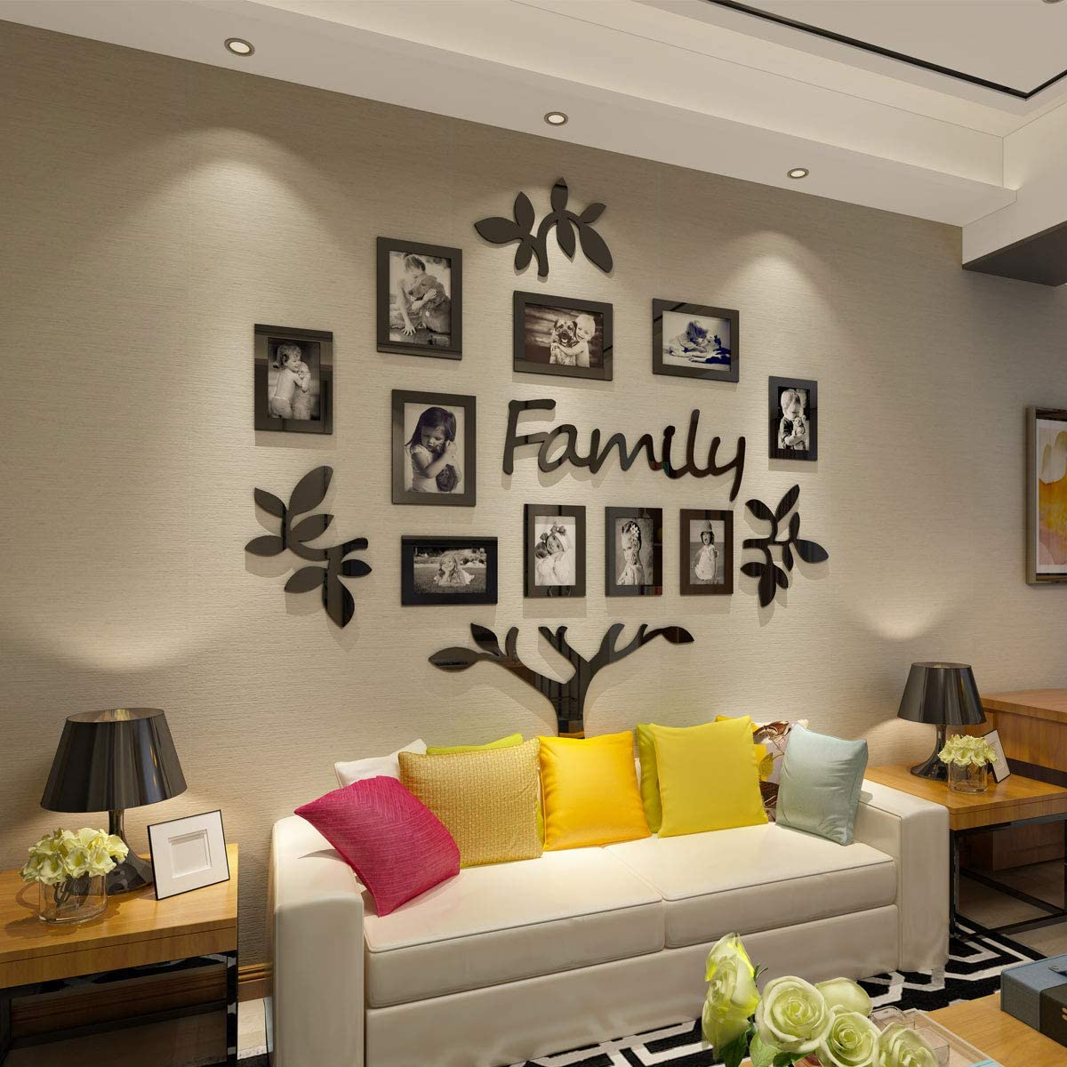 Amazon Com Crazydeal Family Tree Picture Frame Collage 3d Diy Stickers With 10 Openings Photo Frame For Wall Mural Living Room Home