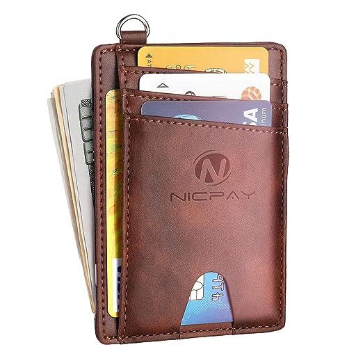 08797d417280 Slim Minimalist Wallet,RFID Blocking Front Pocket Wallets for Men Women,  Credit Card Holder Leather Wallets with D-Shackle