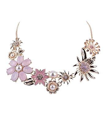 e49ea258721efb SIX Damen Halskette, Statement-Kette mit floralem Muster und großen Blumen,  Strasssteinen und