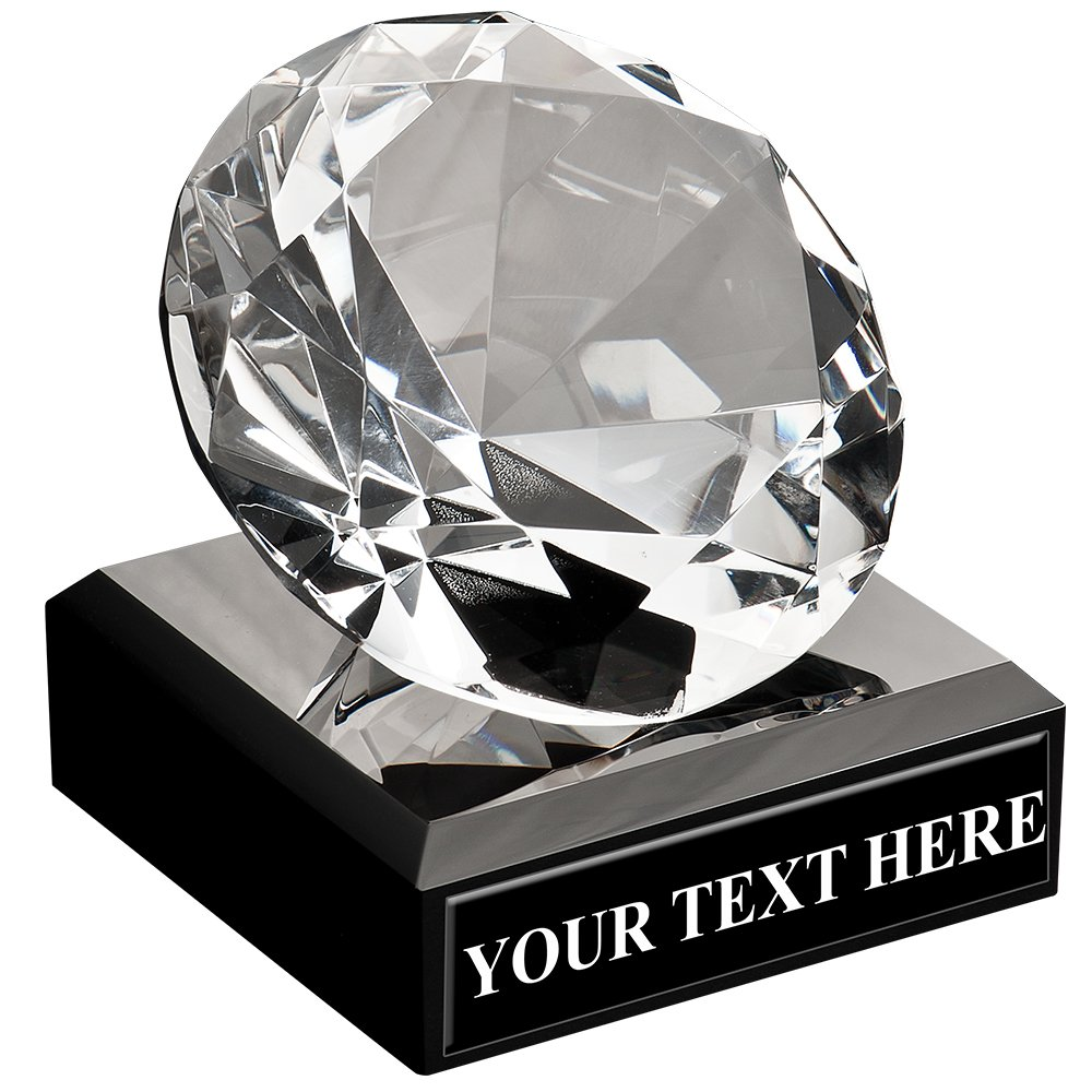 Corporate Glass Awards - Diamond Shaped Trophy Award On Black Crystal Base Prime by Crown Awards
