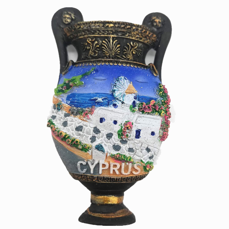 3D Pot Shape Cyprus Fridge Magnet Travel Souvenir Gift, Home & Kitchen Decoration Magnetic Sticker Cyprus Refrigerator Magnet