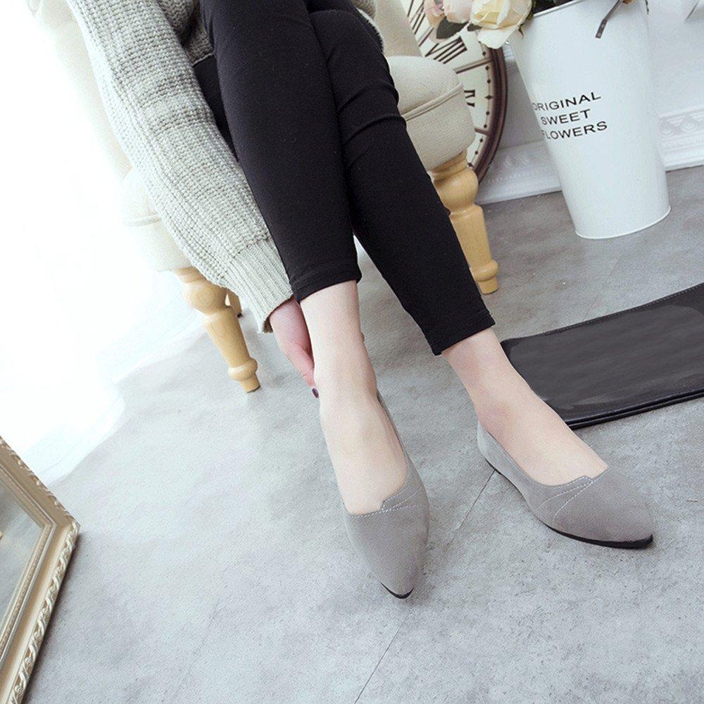 Sunyastor Women's Ballet Comfort Light Faux Suede Multi Color Shoe Flat Pointed Toe Soft Flat Slip-on Fashion Loafer Shoes Gray by Sunyastor Shoes (Image #5)