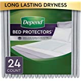 """Depend Waterproof Bed Pads/Underpads for Incontinence, Disposable, 36"""" x 20.4"""", Overnight Absorbency, 24 (2 packs of 12) Count"""