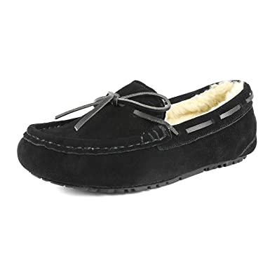 28744f54106 DREAM PAIRS Women s Auzy-02 Black Faux Fur Slippers Loafers Shoes Size 5 B(