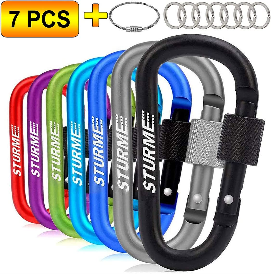 "STURME Carabiner Clip 3"" Aluminum D-Ring Locking Durable Strong and Light Large Carabiners Clip Set for Outdoor Camping Screw Gate Lock Hooks Spring Link Improved Design Pack"