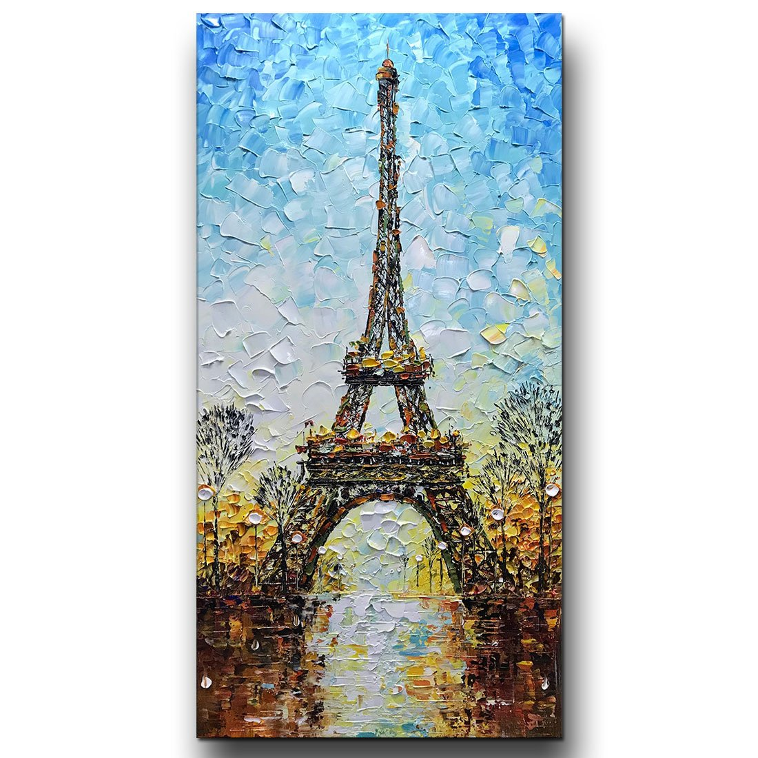 Asdam Art- Eiffel Tower 3D Paintings On Canvas Landscape Wall Art 100% Hand Painted Modern Large Artwork Vertical Paintings(24x48in)