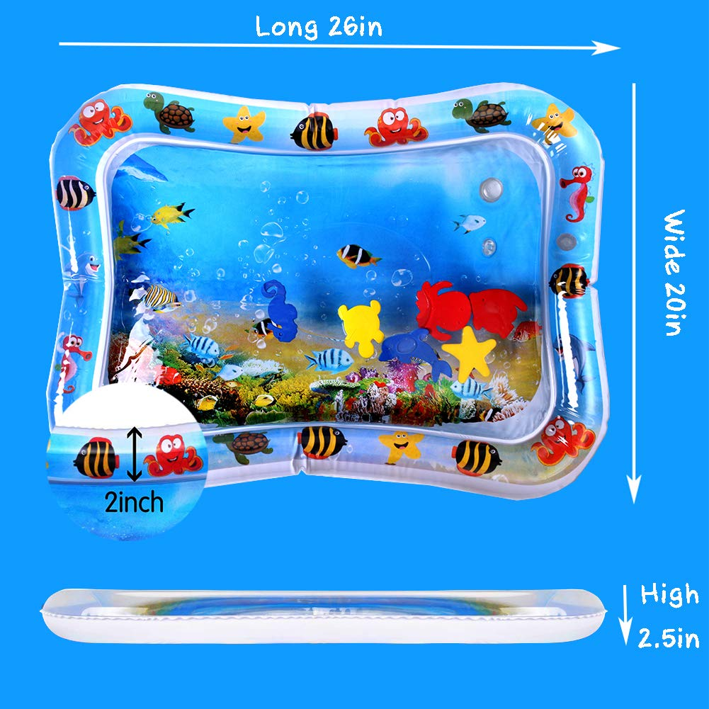 Inflatable Tummy Time Water Mat Infants /& Toddlers Water Play Mat is The Perfect Fun time Play Activity Center Your Babys Stimulation Growth (26x20)