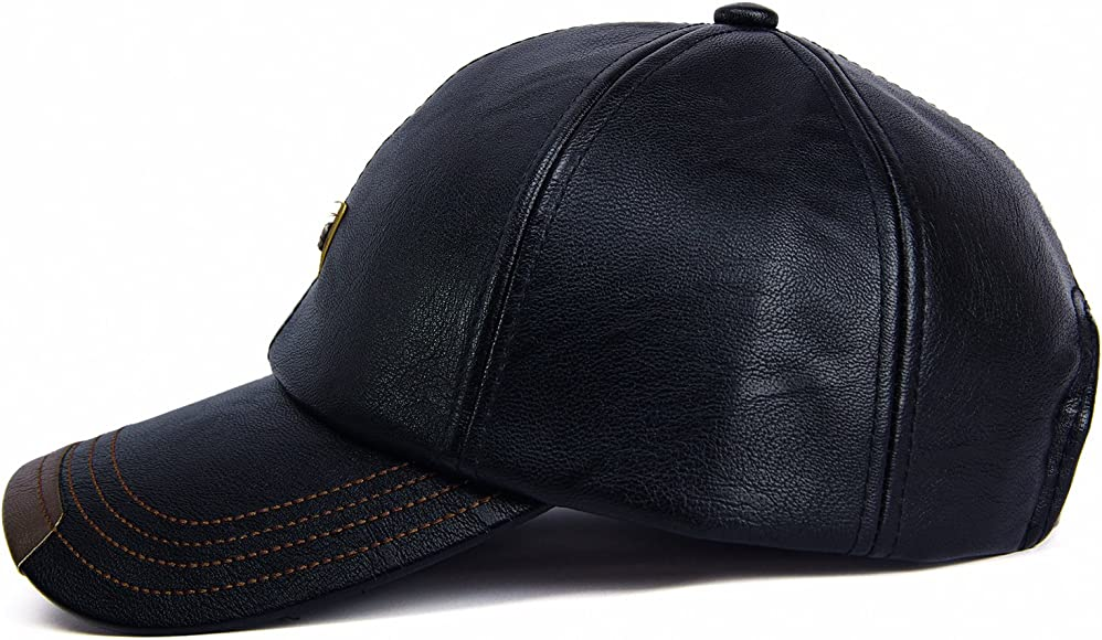 560c951ae9e GESDY Men's Vintage PU Leather Baseball Cap Windproof Warm Outdoor ...