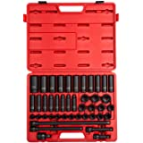 "Sunex 2569, 1/2"" Drive Master Impact Socket Set, 43Piece, Metric, 9mm - 30mm, Standard/Deep, Cr-Mo Alloy Steel, Radius Corner"